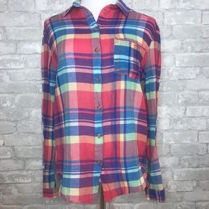 UO BDG plaid front pocket button collar long sleev